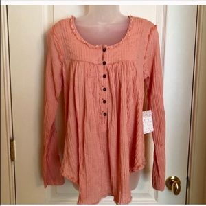 Free People Tops - Top FREE PEOPLE Peach Raw Edge Button NWT